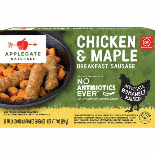 Applegate Chicken and Maple Breakfast Sausage Links Perspective: front
