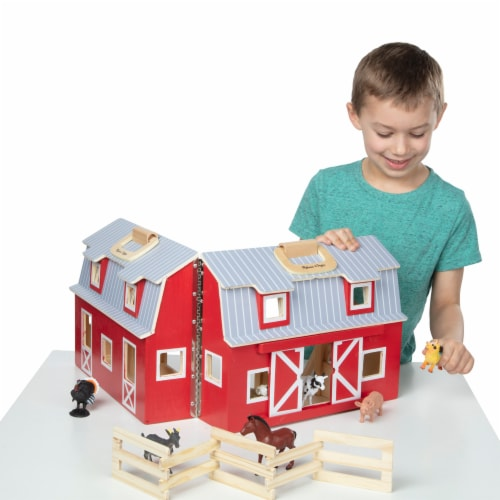 Melissa and Doug® Fold and Go Wooden Barn Perspective: left