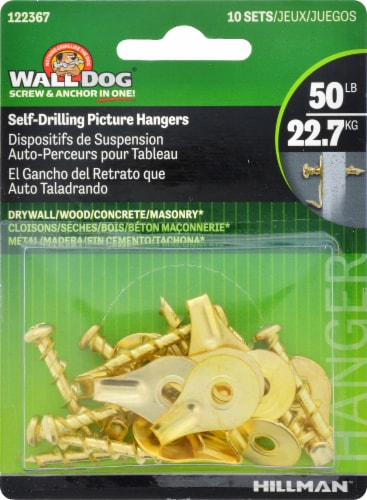 Hillman Wall Dog Brass Self-Drilling Picture Hangers Perspective: left