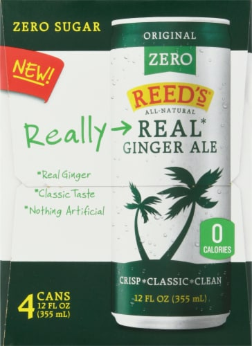 Reed's Original Zero Real Ginger Ale 4 Cans Perspective: left