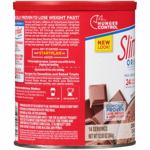 SlimFast Original Creamy Chocolate Shake Mix Perspective: left