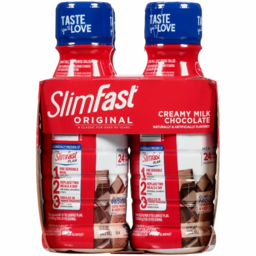 SlimFast Original Creamy Milk Chocolate Ready To Drink Meal Replacement Shakes Perspective: left