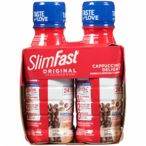 SlimFast Original Cappuccino Delight Ready To Drink Meal Replacement Shakes Perspective: left