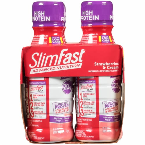 SlimFast Advanced Nutrition Strawberries & Cream Meal Replacement Shakes Perspective: left