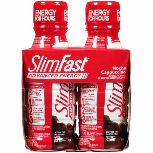 Slimfast Advanced Energy Mocha Cappuccino Meal Replacement Shakes Perspective: left