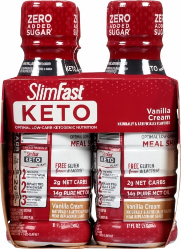 SlimFast Keto Vanilla Cream Ready to Drink Meal Replacement Shakes Perspective: left