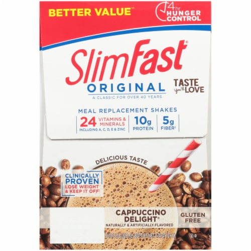 SlimFast Original Cappuccino Delight Meal Replacement Shakes Perspective: left