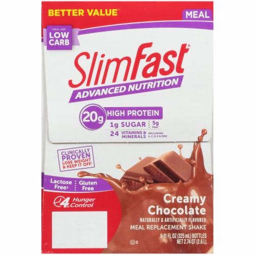 SlimFast Advanced Creamy Chocolate Meal Replacement Shakes Perspective: left