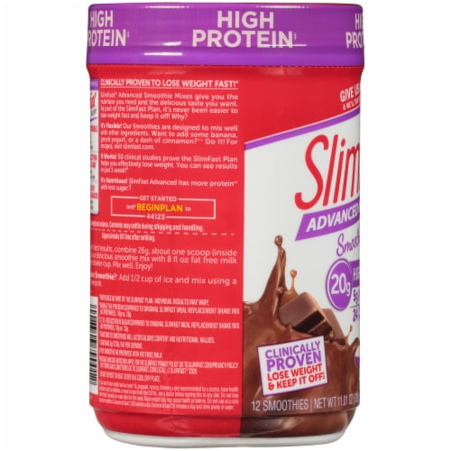 SlimFast Advanced Nutrition High Protein Creamy Chocolate Smoothie Mix Perspective: left