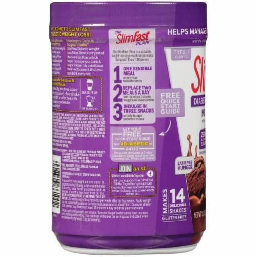 SlimFast Diabetic Weight Loss Chocolate Milkshake Meal Replacement Shake Perspective: left