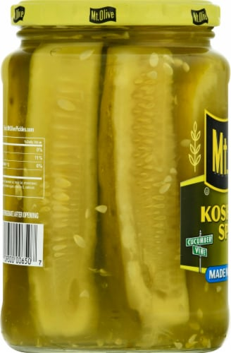 Mt. Olive Kosher Dill Spears with Sea Salt Perspective: left