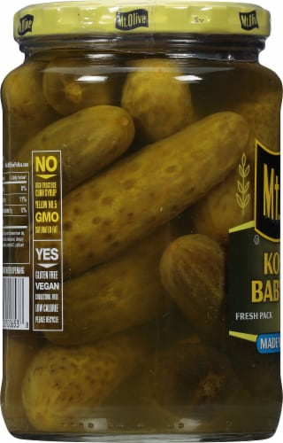 Mt. Olive Kosher Baby Dill Pickles with Sea Salt Perspective: left