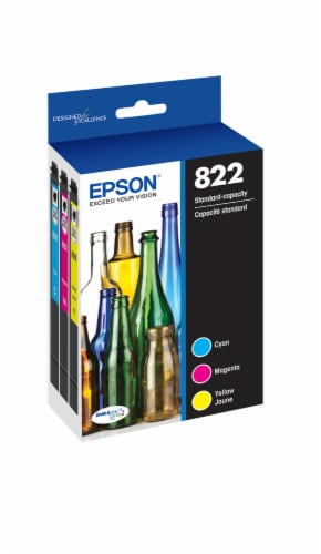 Epson T822 Standard Capacity Color Combo CMY PK Ink Cartridge Perspective: left