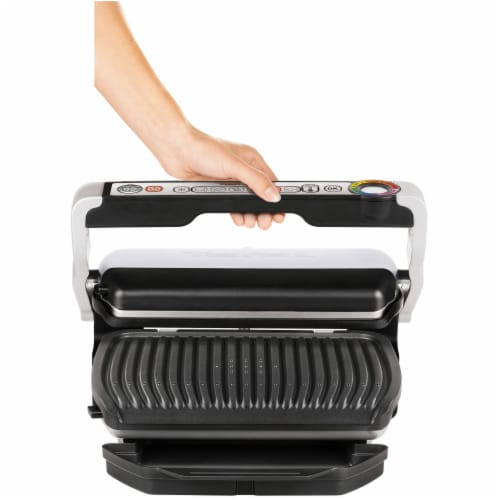 T-fal OptiGrill Plus Stainless Steel Indoor Electric Grill Perspective: left