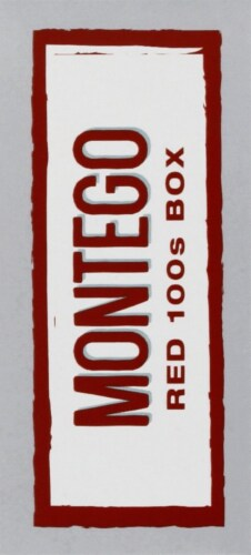 Montego Red 100s Box Cigarettes Perspective: left
