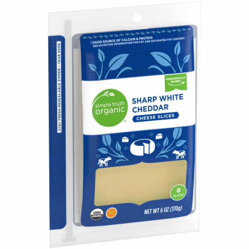Simple Truth Organic® Sharp White Cheddar Cheese Slices Perspective: left