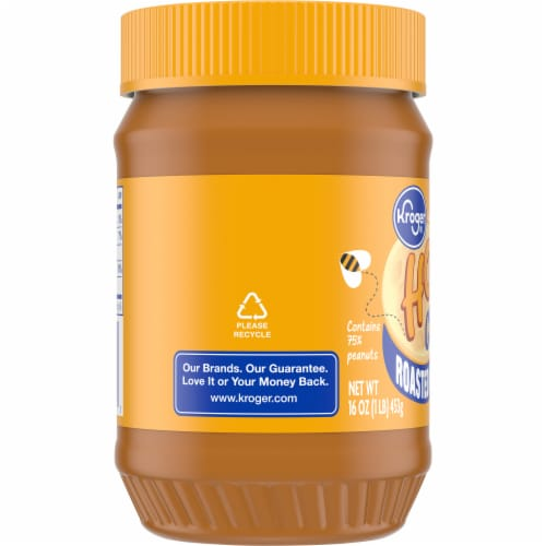 Kroger® Roasted Peanuts & Honey Crunchy Peanut Butter Jar Perspective: left