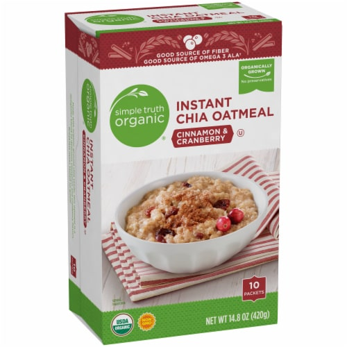 Simple Truth Organic® Instant Cinnamon & Cranberry Chia Oatmeal Packets Perspective: left