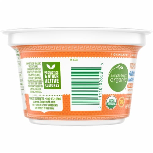 Simple Truth Organic™ Strained Peach Greek Nonfat Yogurt Perspective: left