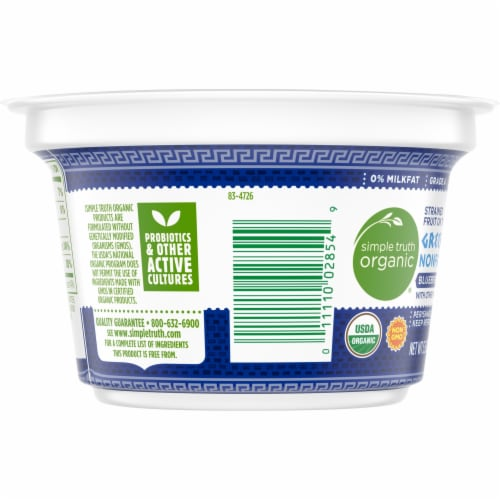 Simple Truth Organic® Strained Blueberry Greek Nonfat Yogurt Perspective: left