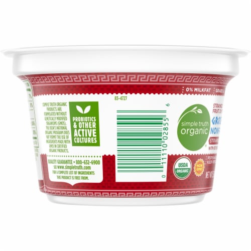 Simple Truth Organic™ Strained Strawberry Greek Nonfat Yogurt Perspective: left