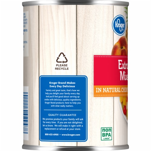 Kroger®  Extra Cherry Mixed Fruit in Natural Cherry Flavored Light Syrup Can Perspective: left