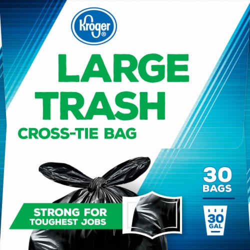 Kroger® Large 30 Gallon Cross Tie Trash Bags Perspective: left
