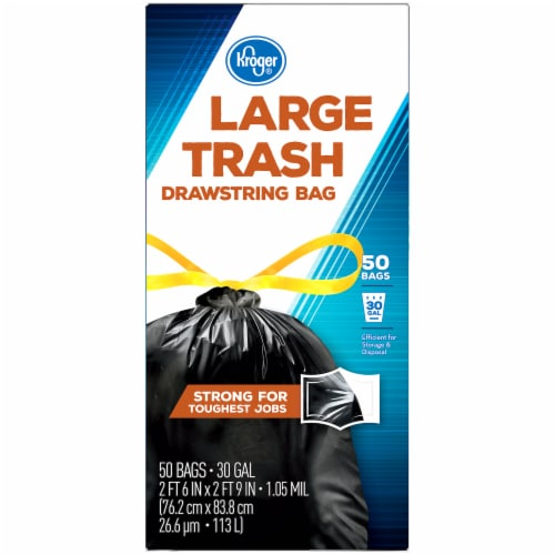 Kroger®  Large 30 Gallon Drawstring Trash Bags 50 Ct Box Perspective: left