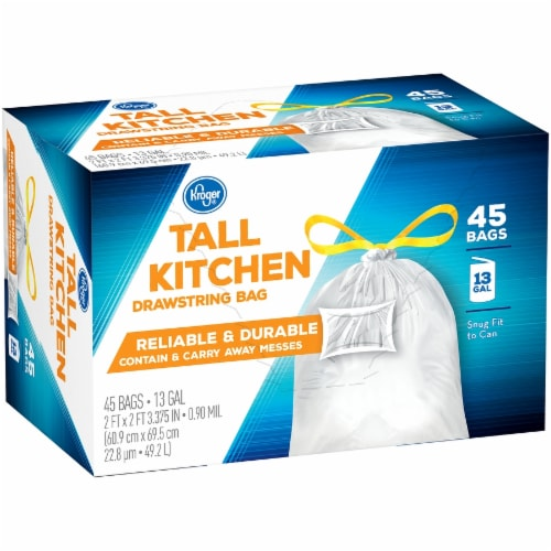 Kroger® Tall 13 Gallon Kitchen Drawstring Bags Perspective: left