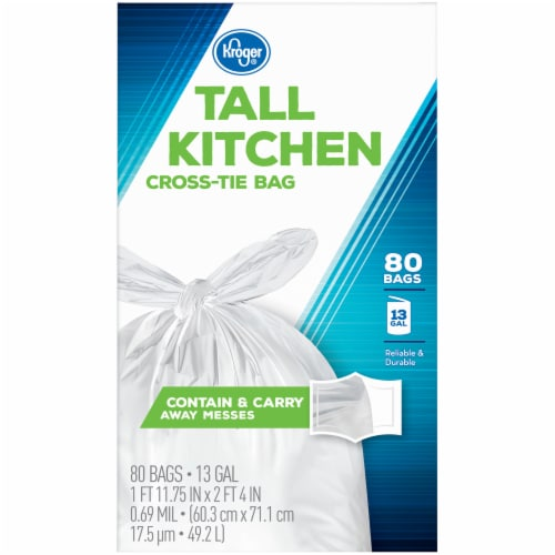 Kroger®  Tall 13 Gallon Kitchen Cross Tie Bags 80 Ct Box Perspective: left