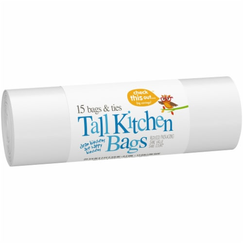 Check This Out™ 13 Gallon Tall White Kitchen Bags Perspective: left