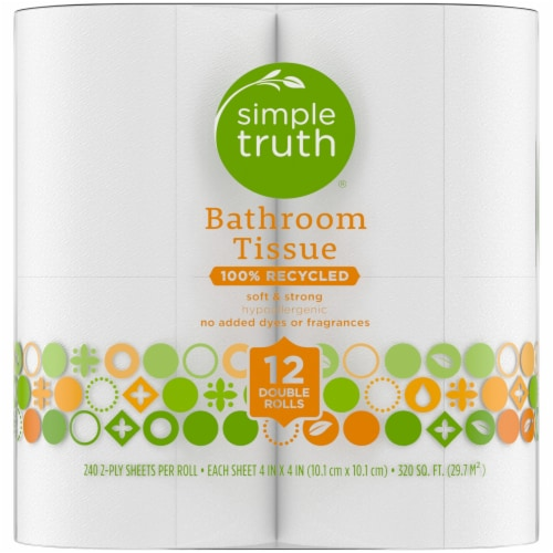 Simple Truth™ 100% Recycled Hypoallergenic Double Rolls Bathroom Tissue Perspective: left