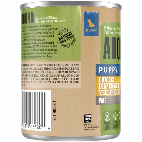 Abound® Chicken Dinner with Vegetables Pate Puppy Food Perspective: left