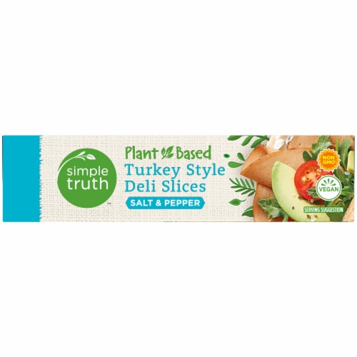 Simple Truth™ Plant-Based Salt & Pepper Turkey Style Deli Slices Box Perspective: left