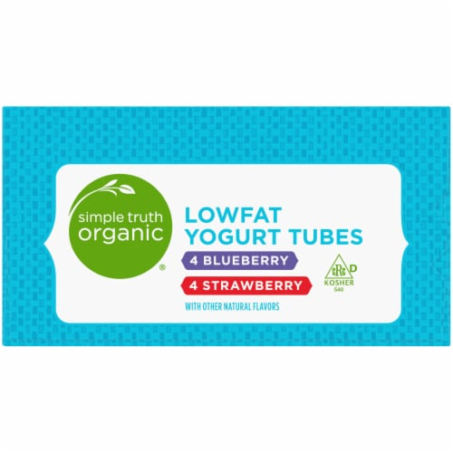 Simple Truth Organic™ Strawberry & Blueberry Lowfat Yogurt Tubes Perspective: left
