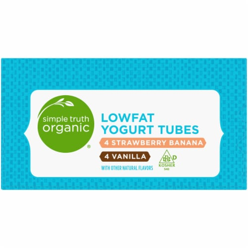 Simple Truth Organic® Strawberry Banana & Vanilla Lowfat Yogurt Tubes Perspective: left