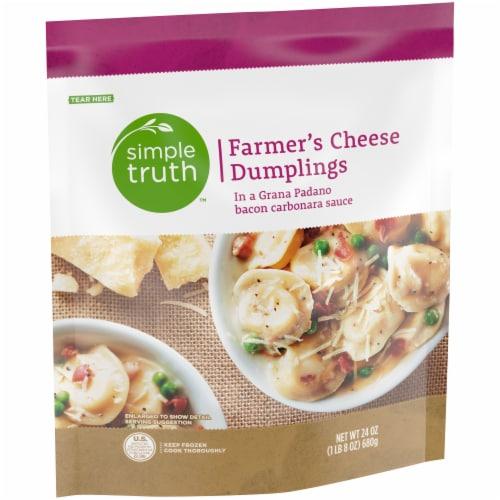 Simple Truth™ Farmer's Cheese Stuffed Dumplings with Grana Padano Bacon Carbonara Sauce Perspective: left