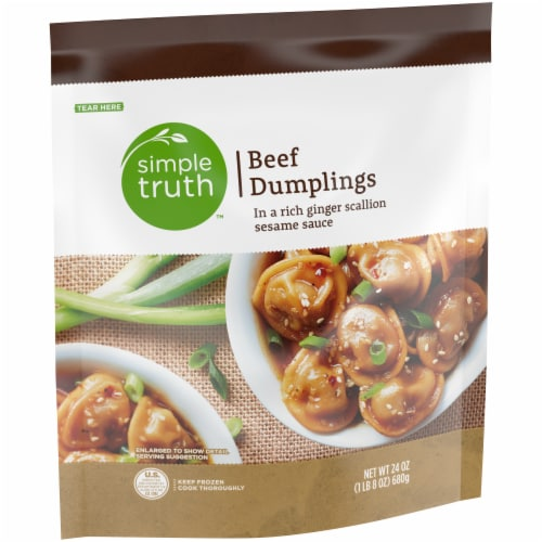 Simple Truth™ Beef Dumplings with Ginger Scallion Sesame Sauce Perspective: left