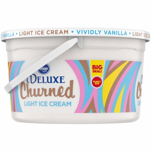 Kroger® Deluxe Churned Vividly Vanilla Light Ice Cream Perspective: left