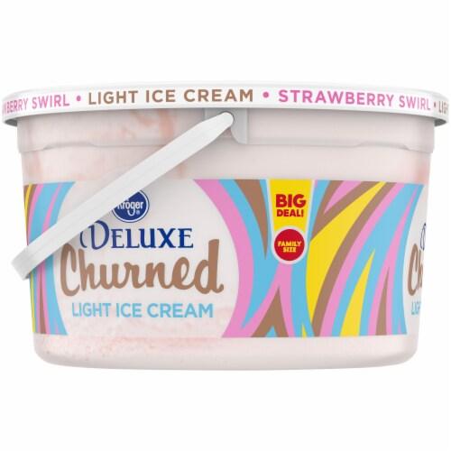 Kroger® Deluxe Churned Strawberry Swirl Light Ice Cream Perspective: left