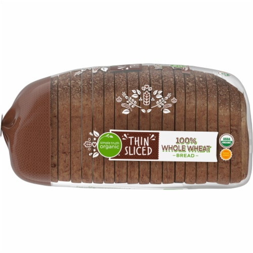 Simple Truth Organic® 100% Whole Wheat Thin Sliced Bread Perspective: left