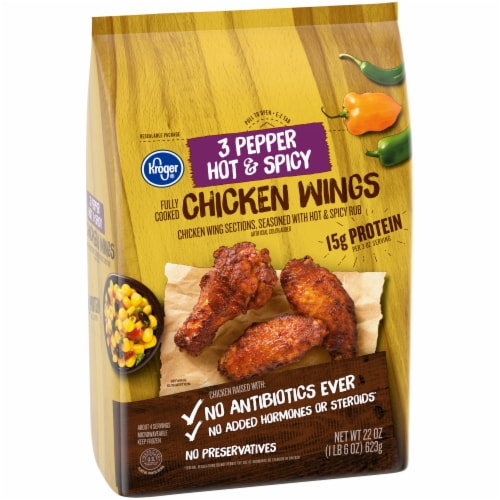 Kroger® 3 Pepper Hot & Spicy Fully Cooked Chicken Wings Perspective: left