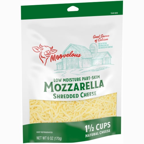 Moovelous Shredded Mozzarella Cheese Perspective: left