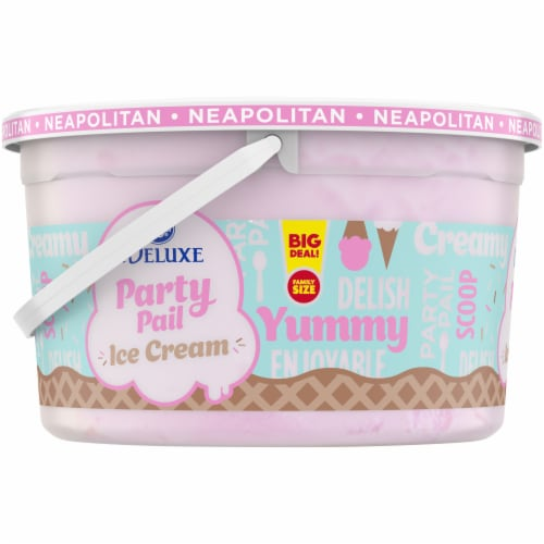 Kroger® Deluxe Party Pail Neapolitan Flavored Ice Cream Family Size Perspective: left