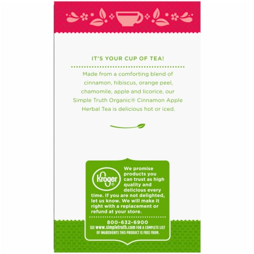 Simple Truth Organic® Cinnamon Apple Herbal Tea Bags Perspective: left