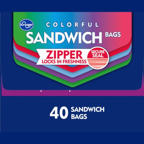 Kroger® Reclosable Colorful Assorted Sandwich Bags 40 Count Perspective: left