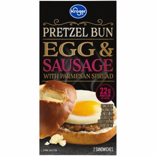 Kroger® Pretzel Bun Egg & Sausage Breakfast Sandwich Perspective: left