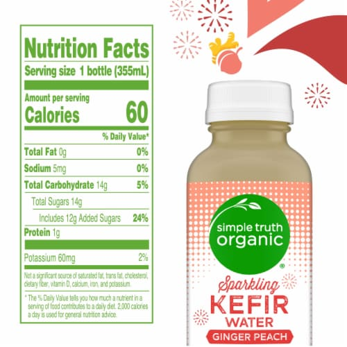 Simple Truth Organic™ Sparkling Probiotic Ginger Peach Kefir Water Drink Perspective: left