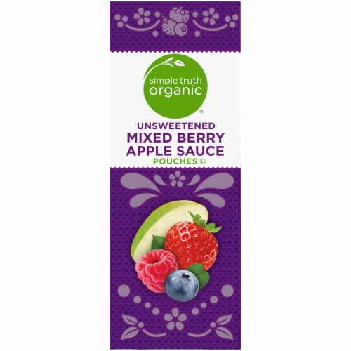 Simple Truth Organic® Unsweetened Mixed Berry Apple Sauce Pouches Perspective: left