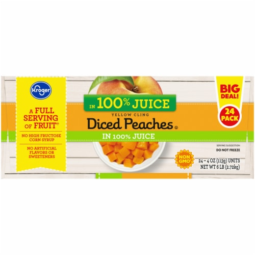 Kroger® Yellow Cling Diced Peaches in Juice 24 Count Perspective: left